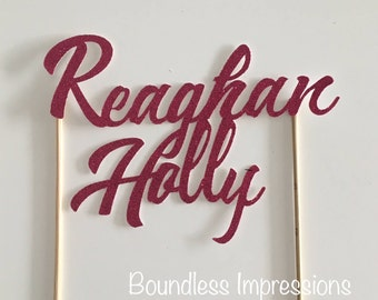 Personalised Glitter Cake Toppers (Font 8)