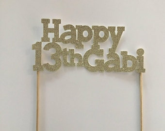 Personalised Glitter Cake Toppers (Font 4)