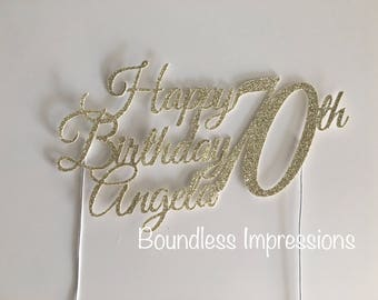 Personalised Glitter Cake Toppers (Font 2)