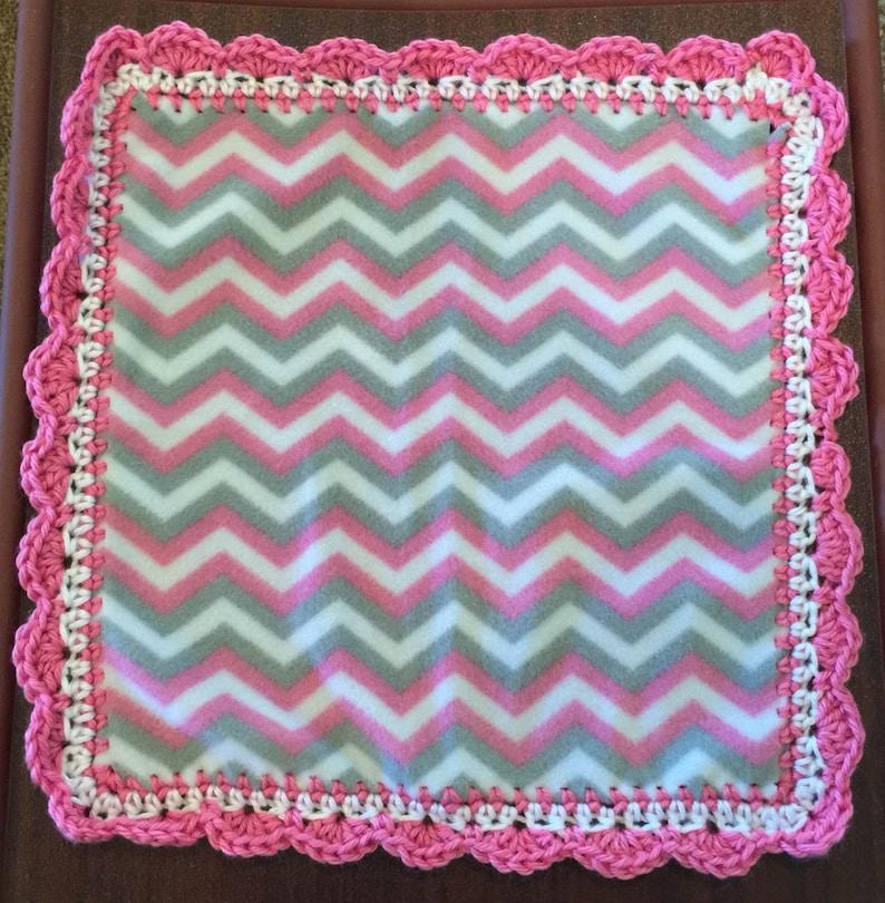 First Blanket Baby Security Blanket Mini Blanket Pink Chevron Fleece Lovey with Crochet Trim Newborn Blanket Blankie Baby Shower Gift