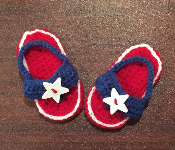 Patriotische 4 Juli Baby Häkeln Flip Flops Sandalen Etsy