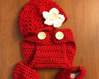 Crochet Valentines Hat Red with Diaper Cover-Heart-Heart-Valentine Day-Crochet Valentine Hat-Crochet Valentine diaper cover-baby 1st