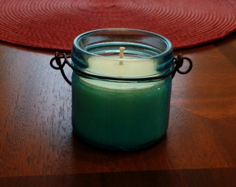 Blue jar candle