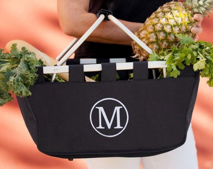 Large Monogrammed Market Basket Tote
