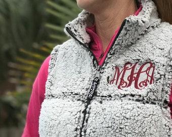 Womens Monogrammed Sherpa Fleece Vest