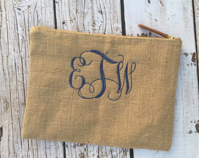 Monogrammed Burlap Zip Top Everything Bag