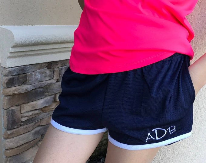 Monogrammed Cheer Dance Run Mesh Athleisure Shorts