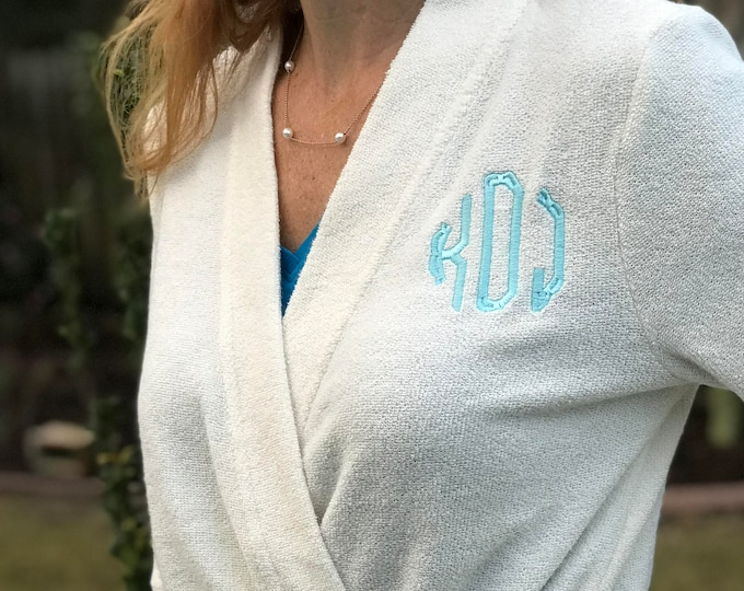 Monogrammed Short Terry Robe