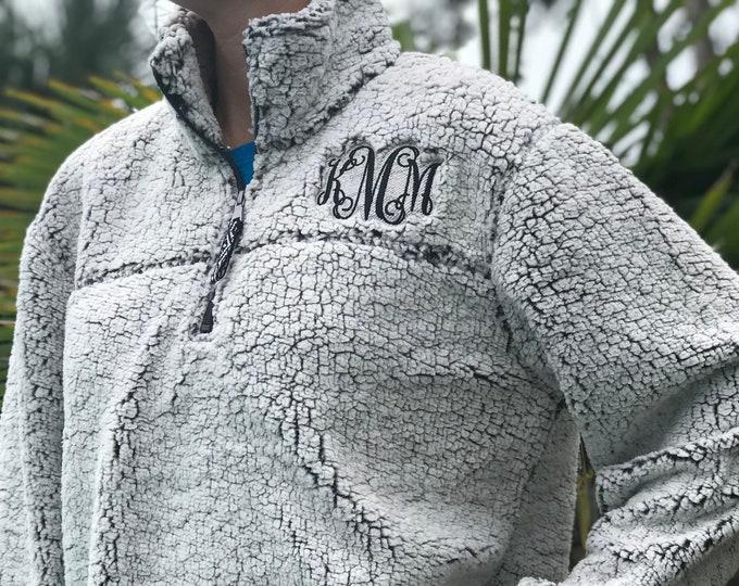 Monogrammed Sherpa Fleece 1/4 Zip Pullover