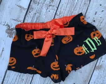 Personalized Halloween Pumpkin Shorts