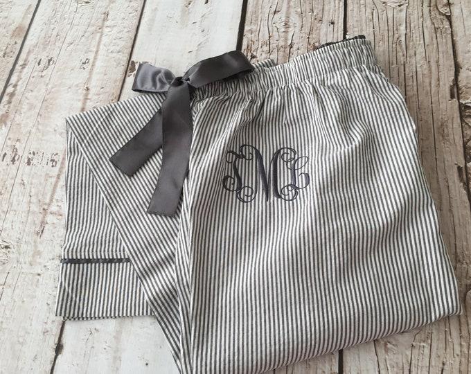 Monogrammed Seersucker Lounge Pants