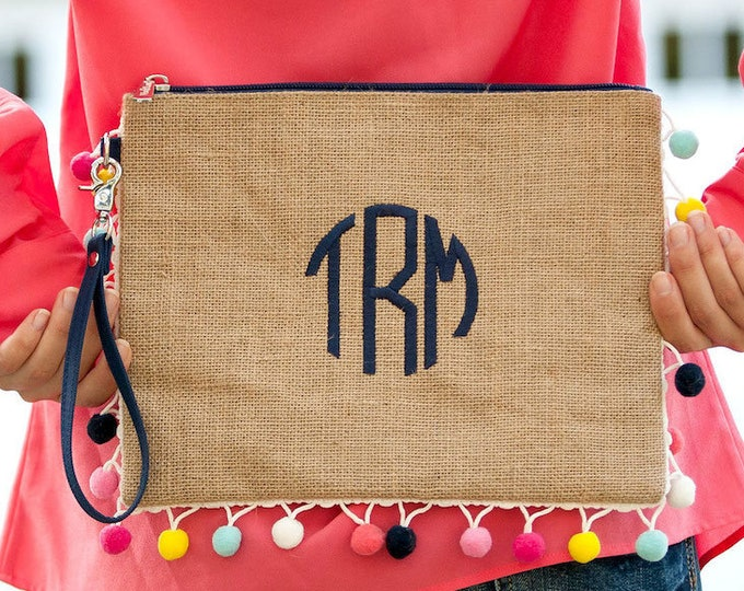 Burlap Pom Pom Zip Bag