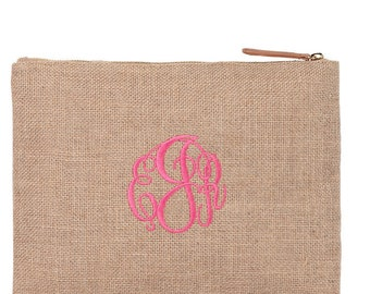 Monogrammed Burlap Zip Bag