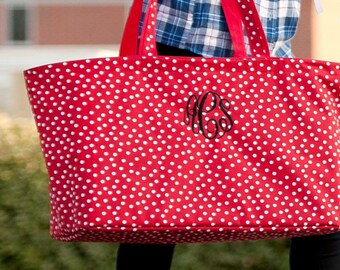 Monogrammed Ultimate Tote Tiny Dot Print