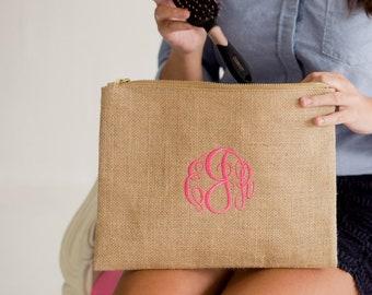 Monogrammed Burlap Zip Top Everything Bag