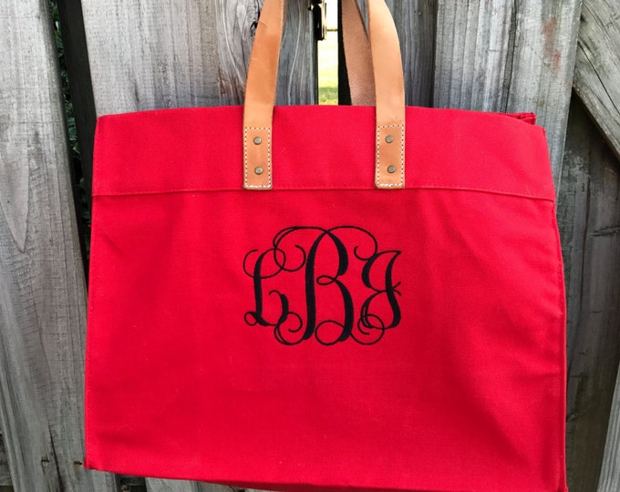 Canvas Box Tote with Leather Handles