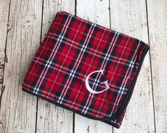 Monogrammed Plaid Fleece and Flannel Blanket Throw