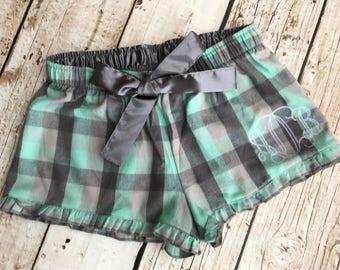 Women's Monogrammed Flannel Print Shorts