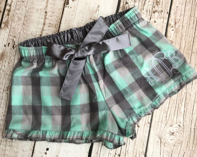 Monogrammed Flannel Print Shorts