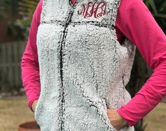 Monogrammed Sherpa Fleece Vest