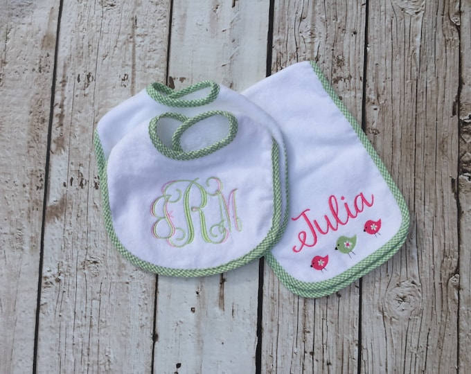 Monogrammed Seersucker Bib and Burp Cloth Set