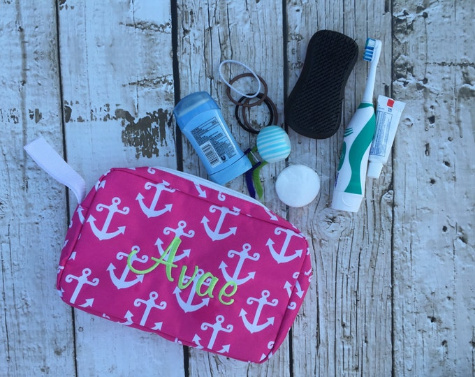 Anchor or Seahorse Print Toiletry Accessory Bag