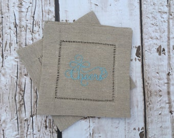 Embroidered Cocktail Napkin Coaster Set of 6