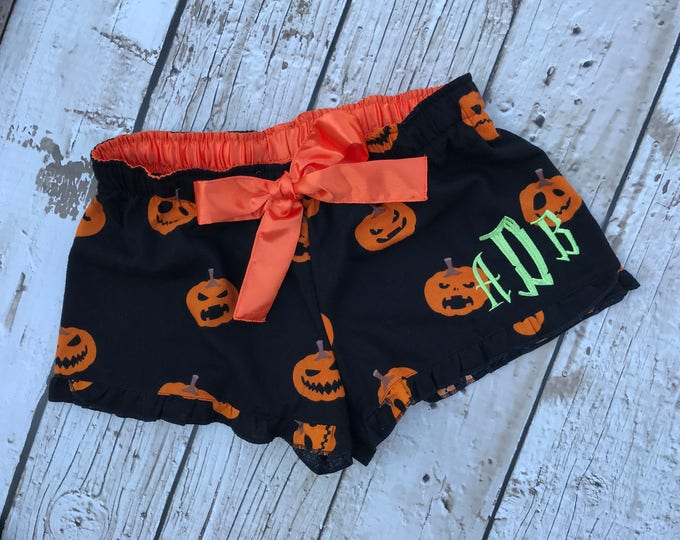 Personalized Youth Halloween Pumpkin Shorts
