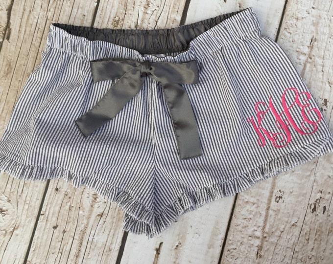 Monogrammed Seersucker Lounge Pajama Shorts
