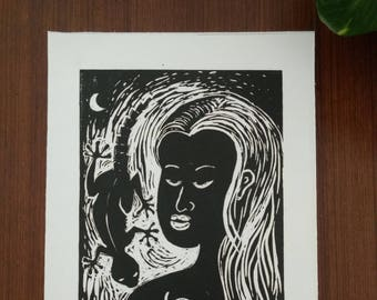 """Eve and the apple - Hand Printed, Woodcut Print (8"""" X 12"""")"""