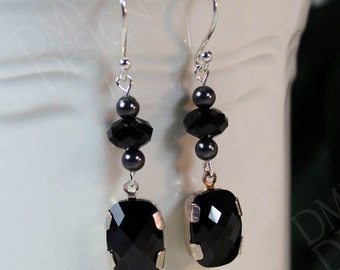 Vintage Elegance Earrings in Jet Crystal