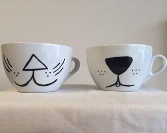 Kitty and puppy mug set