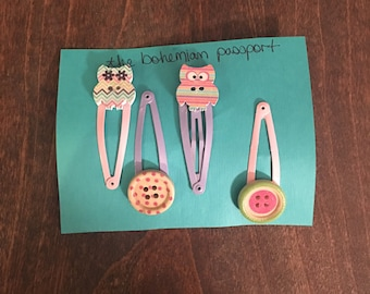 Owls and buttons clips
