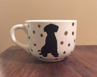 Puppy and polka dot mug
