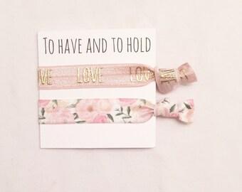Bridesmaid hair tie favor//party favor,bridesmaid gift,elastic hair ties, hair tie card, bridesmaid hair ties, bachelortte, bride, wedding