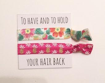 Bridesmaid hair tie favors//hair tie card, hair tie favor, hair tie card, bridesmaid hair ties, bridesmaid gift, bachelorette gift, bride