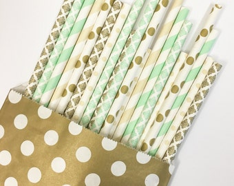 Mint neutral straw mix//paper straws, straws, party supplies, party decorations, baby shower, birthday party, bachelorette party, wedding