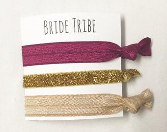 Bridesmaid hair tie favor//bridetribe wine skinny gold & neutral//hair tie card//party favor//bridesmaid hair tie favor