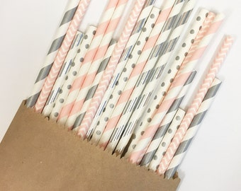 Matte Silver+Pink Straw Mix//paper straws, straws, party decorations, party supplies, baby shower, birthday party, bachelorette party,weddin