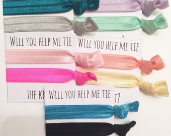 Bridesmaid hair ties YOU CHOOSE COLORS//elastic hair ties, hair tie card, bachelorette favor, bridesmaid gift, hair tie favor