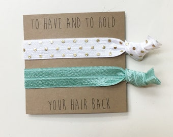 Bridesmaid hair tie favors//hair tie card, bridesmaid gift, bachelorette favor, party favor, elastic hair ties, bride, wedding, hair ties