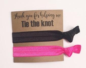 SALE-Bridesmaid hair tie favors//hair tie card, hair tie favors, bridesmaid gift, bachelorette gift, elastic hair ties, party favor