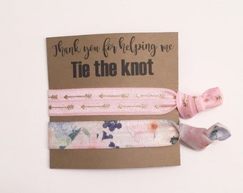 bridesmaid hair tie favors//hair tie card, hair tie favor, bridesmaid gift, bachelorette gift, elastic hair ties, party favor