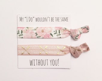 Bridesmaid hair tie favors//hair tie card,bridesmaid gift,party favor, bridesmaid hair ties, bachelorette gift, wedding, bride