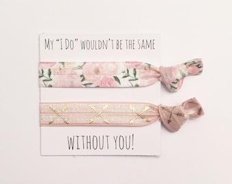 Bridesmaid hair tie favors//hair tie card,bridesmaid gift,party favor, bridesmaid hair ties, bachelorette gift, wedding, bride