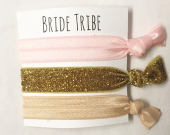 Bridesmaid hair tie favor//bridetirbe blush neutral thick gold//hair tie card//elastic hair ties