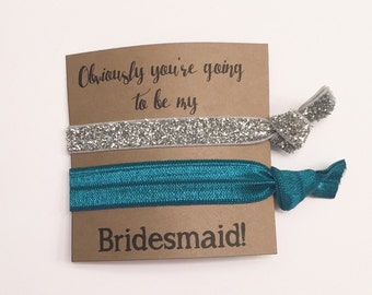 Bridesmaid hair tie favor//hair tie card, hair tie favor, bridesmaid gift, bachelorette gift, elastic hair ties, party favor