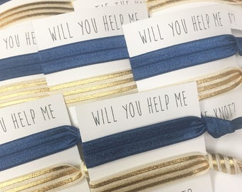 Bridesmaid hair tie favors//hair tie card, bachelorette, wedding, bride, elastic hair ties,bridesmaid gift