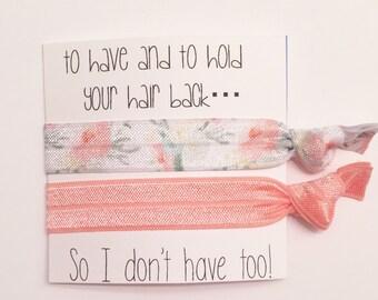 Bridesmaid hair tie favor//hair tie card, bridesmaid gift, bachelorette gift, elastic hair ties, hair tie favor, bridesmaid gift