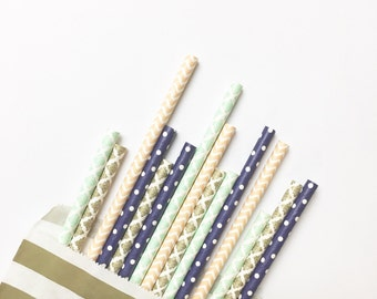 Navy Serene Straw Mix//paper straws, straws, birthday party, wedding, bachelorette, party supplies, party decorations,